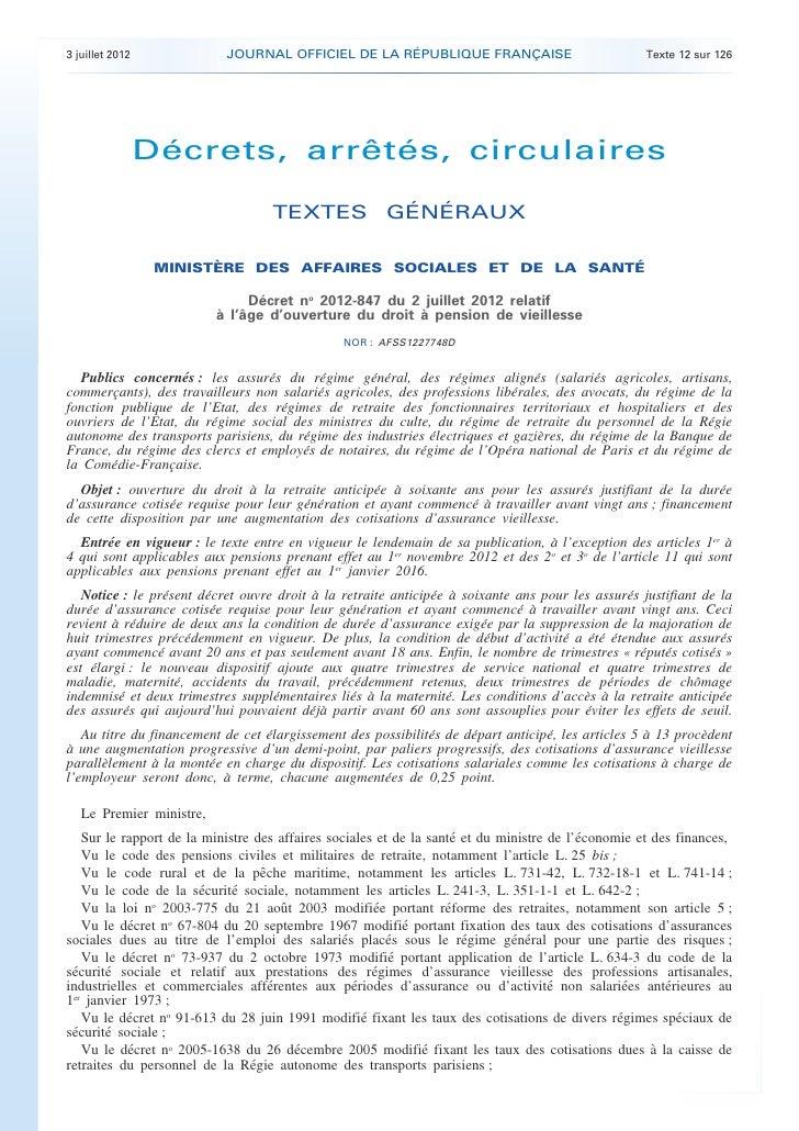 3 juillet 2012             JOURNAL OFFICIEL DE LA RÉPUBLIQUE FRANÇAISE                              Texte 12 sur 126      ...