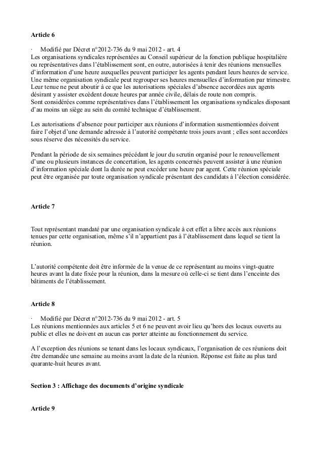 Article 6  · Modifié par Décret n°2012-736 du 9 mai 2012 - art. 4  Les organisations syndicales représentées au Conseil su...