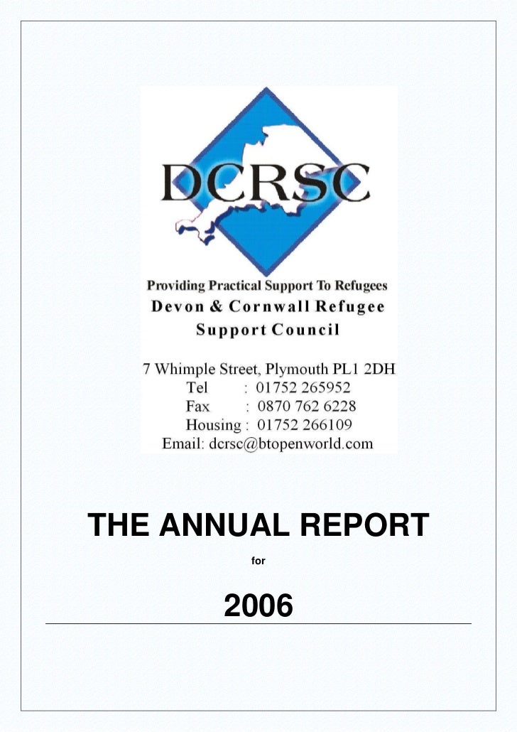THE ANNUAL REPORT        for      2006