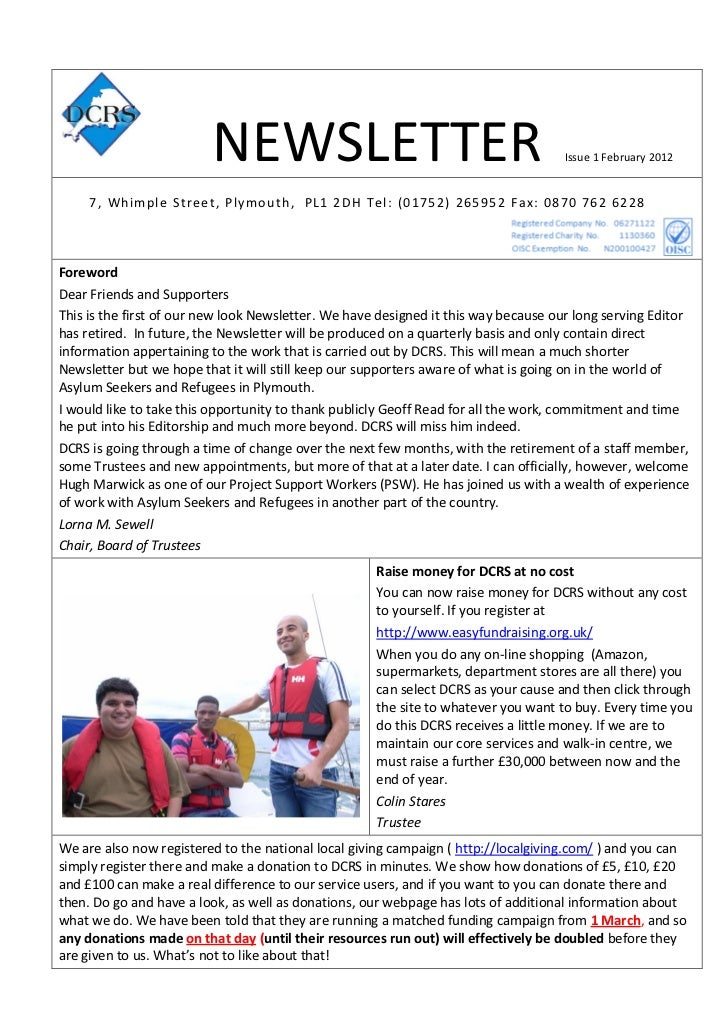 NEWSLETTER                                                  Issue 1 February 2012     7 , Whimple Street, Plymouth, PL1 2D...