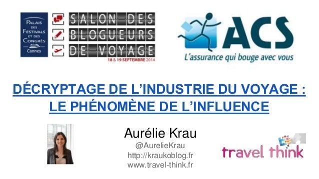 DÉCRYPTAGE DE L'INDUSTRIE DU VOYAGE :  LE PHÉNOMÈNE DE L'INFLUENCE  Aurélie Krau  @AurelieKrau  http://kraukoblog.fr  www....