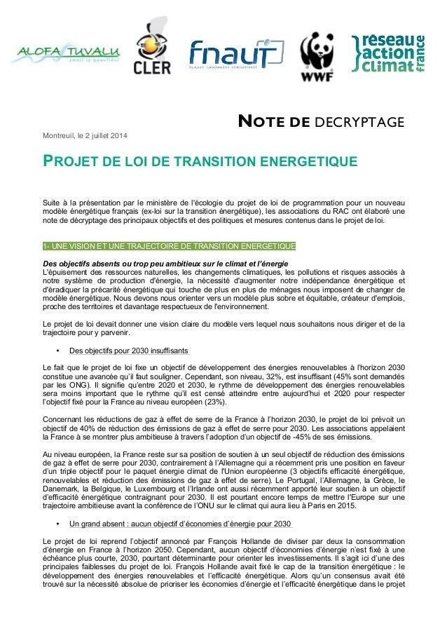 NOTE DE DECRYPTAGE Montreuil, le 2 juillet 2014 PROJET DE LOI DE TRANSITION ENERGETIQUE Suite à la présentation par le min...