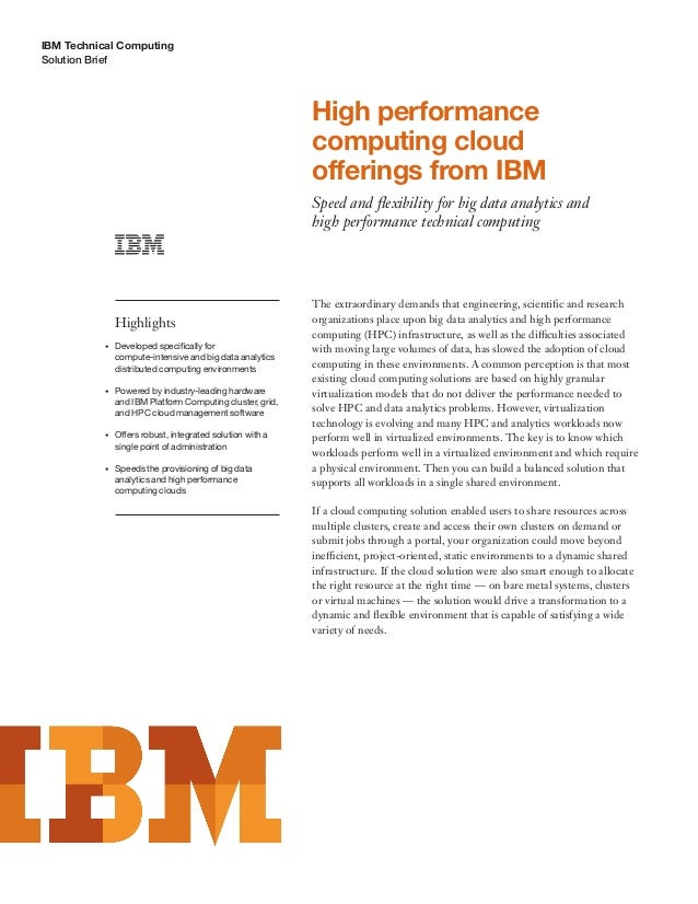 High performance computing cloud offerings from IBM