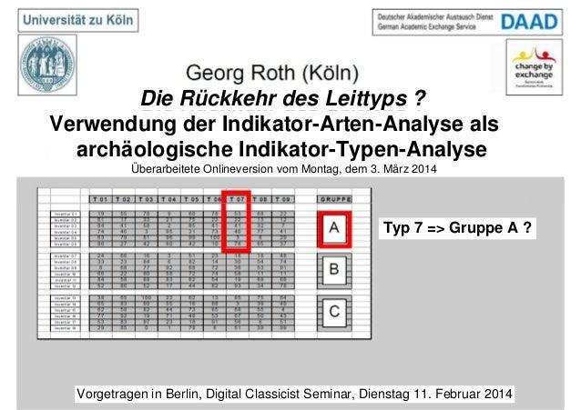 Die Rückkehr des Leittyps ? Verwendung der Indikator-Arten-Analyse als archäologische Indikator-Typen-Analyse Typ 7 => Gru...