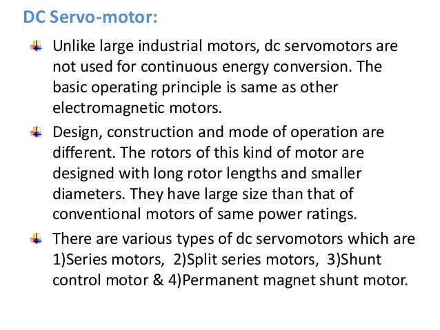 Working principle of dc motor ppt for Dc servo motor working principle pdf