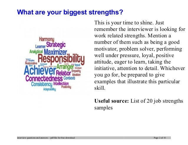 work related strengths examples