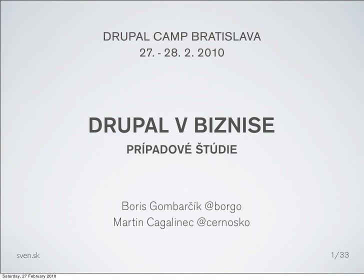 DRUPAL CAMP BRATISLAVA                                   27. - 28. 2. 2010                                  DRUPAL V BIZNI...