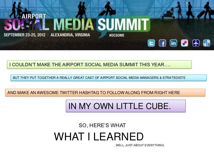 """I COULDN""""T MAKE THE AIRPORT SOCIAL MEDIA SUMMIT THIS YEAR….  BUT THEY PUT TOGETHER A REALLY GREAT CAST OF AIRPORT SOCIAL M..."""