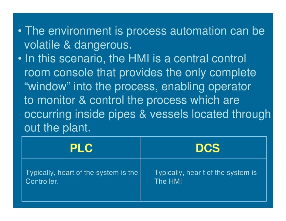 • The environment is process automation can be   volatile & dangerous. • In this scenario, the HMI is a central control   ...