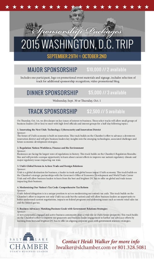 2015 WASHINGTON,D.C. TRIP SEPTEMBER 29TH OCTOBER 2ND Sponsorship Packages TO Contact Heidi Walker for more info hwalker@sl...