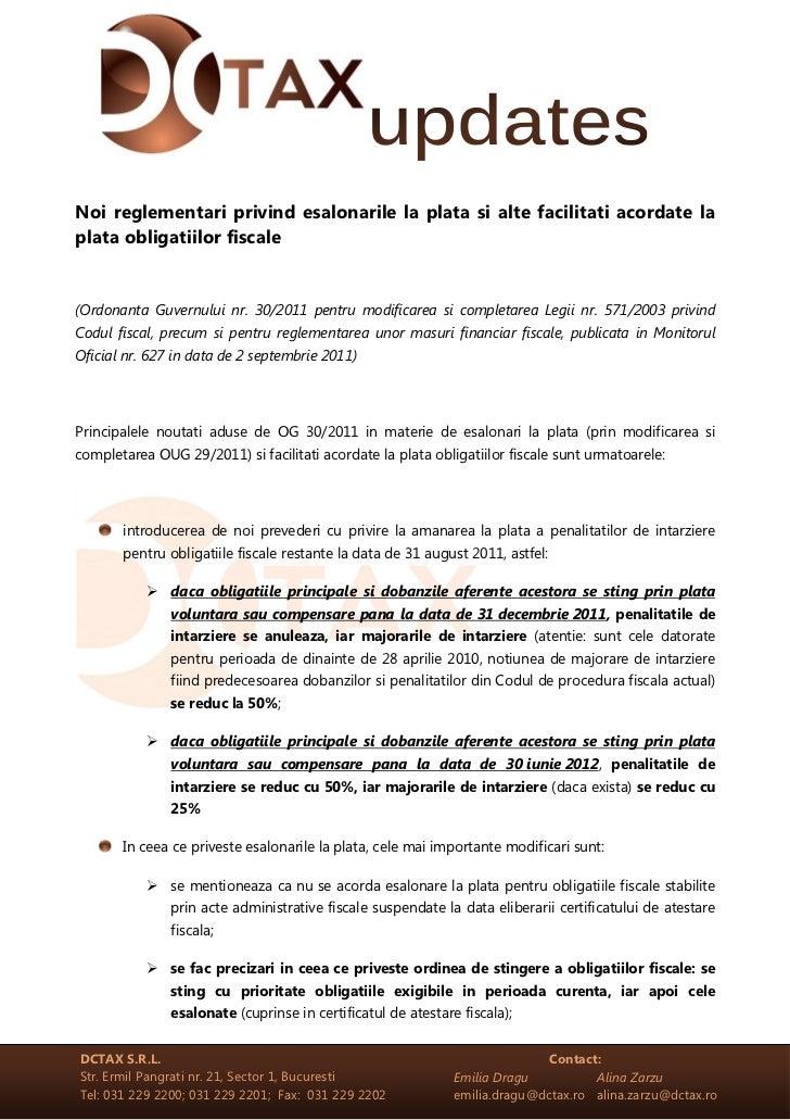 Noi reglementari privind esalonarile la plata si alte facilitati acordate laplata obligatiilor fiscale(Ordonanta Guvernulu...