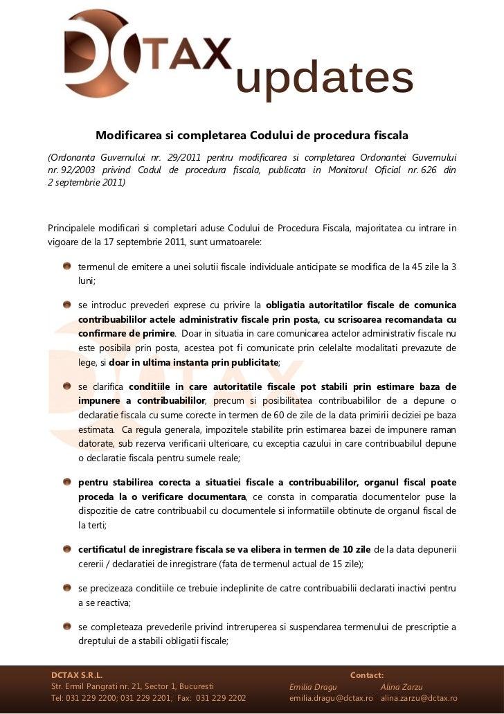 Modificarea si completarea Codului de procedura fiscala(Ordonanta Guvernului nr. 29/2011 pentru modificarea si completarea...