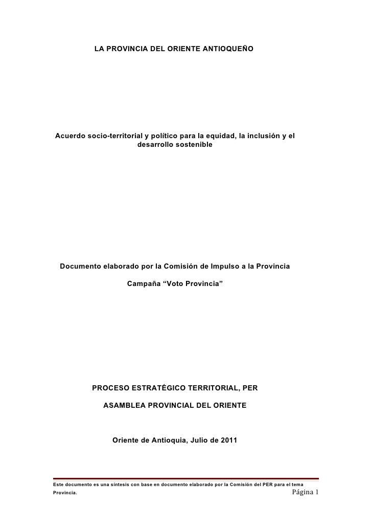 LA PROVINCIA DEL ORIENTE ANTIOQUEÑOAcuerdo socio-territorial y político para la equidad, la inclusión y el                ...