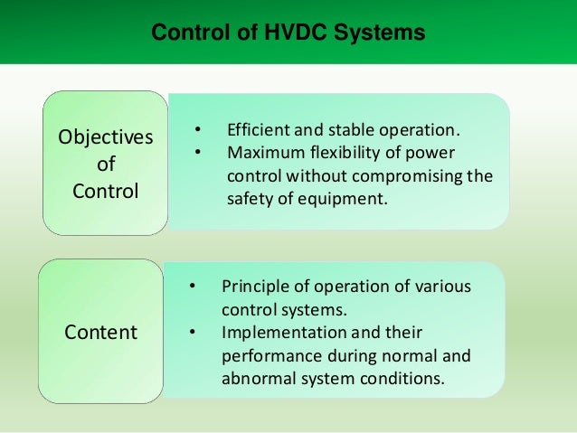Basic principles of control • Direct current from the rectifier to the inverter  Id  Vdor cos Vdoi cos Rcr Rl Rci  • Power...