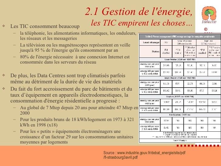 2.1 Gestion de l'énergie, les TIC empirent les choses… <ul><li>Les TIC consomment beaucoup </li></ul><ul><ul><li>la téléph...