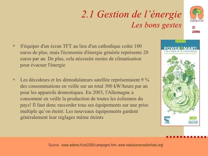 2.1 Gestion de l'énergie Les bons gestes <ul><li>S'équiper d'un écran TFT au lieu d'un cathodique coûte 100 euros de plus,...