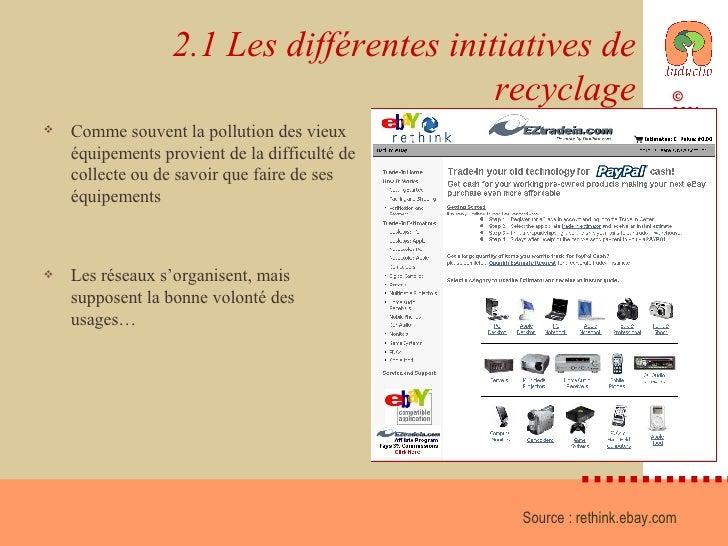 2.1 Les différentes initiatives de recyclage <ul><li>Comme souvent la pollution des vieux équipements provient de la diffi...