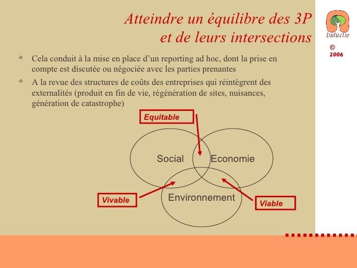 Atteindre un équilibre des 3P et de leurs intersections <ul><li>Cela conduit à la mise en place d'un reporting ad hoc, don...