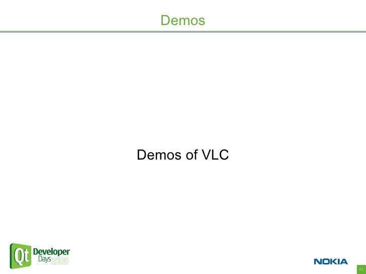 Demos     Demos of VLC                    12