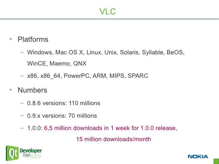 VLC   • Platforms    – Windows, Mac OS X, Linux, Unix, Solaris, Syllable, BeOS,      WinCE, Maemo, QNX    – x86, x86_64, P...