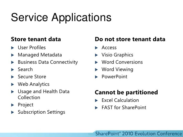 Service Applications<br />Store tenant data<br />User Profiles<br />Managed Metadata<br />Business Data Connectivity<br />...
