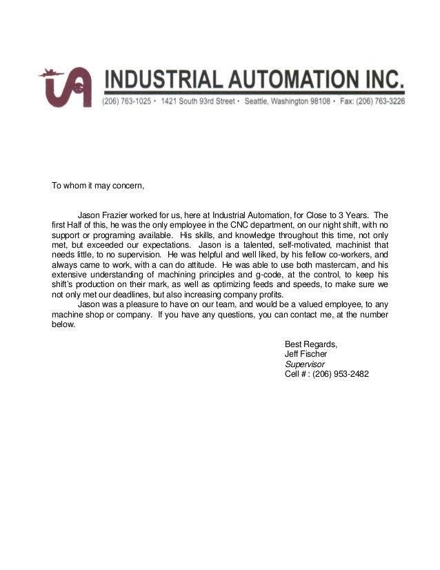 Letter Of Recommendation Industrial Automation