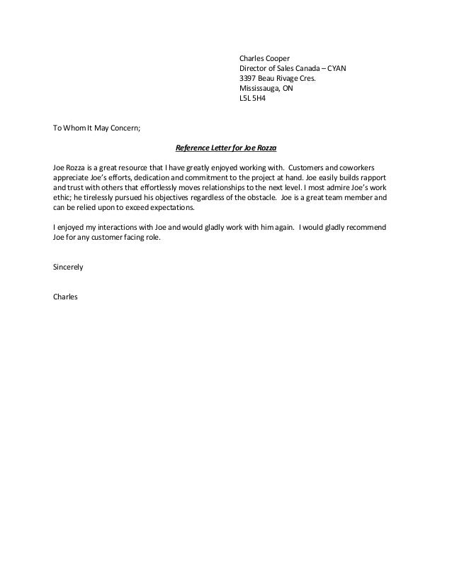 reference letter channel partner cyan charles cooper director of sales canada cyan 3397 beau rivage cres mississauga on