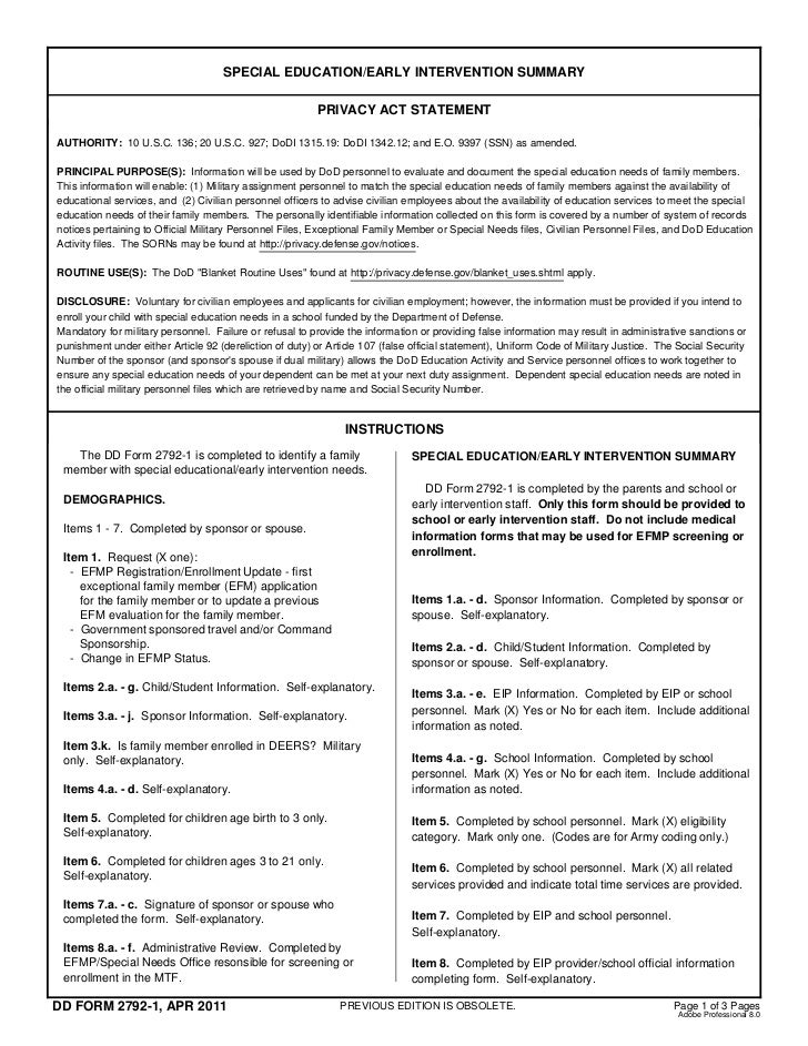 SPECIAL EDUCATION/EARLY INTERVENTION SUMMARY                                                         PRIVACY ACT STATEMENT...