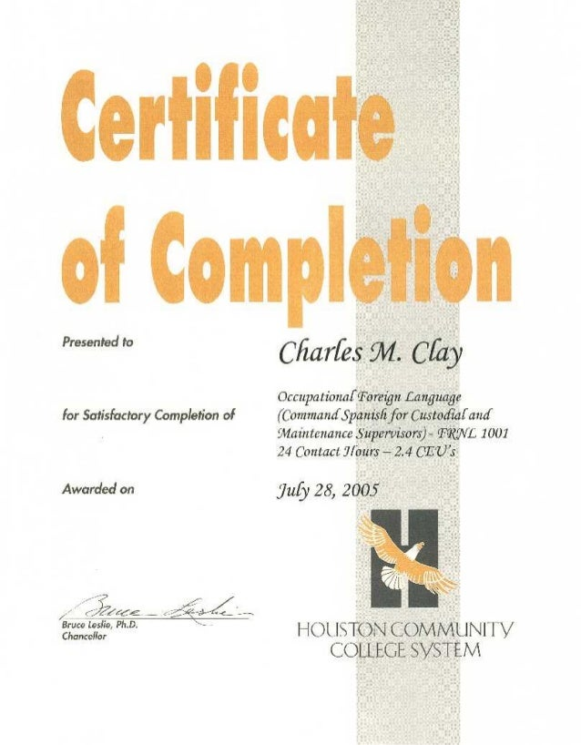 Houston Community College System - Command Spanish Certification 2005