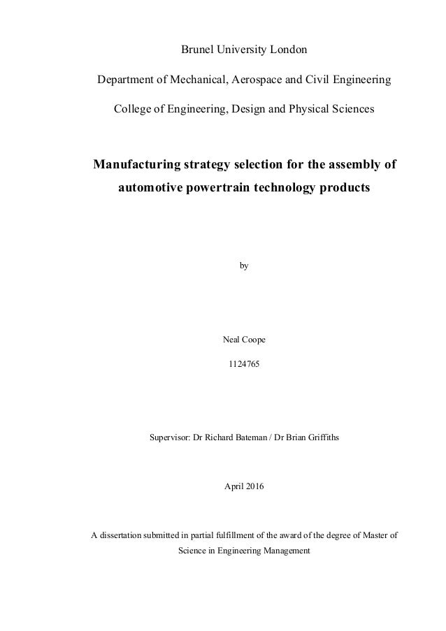 dissertation late submission brunel
