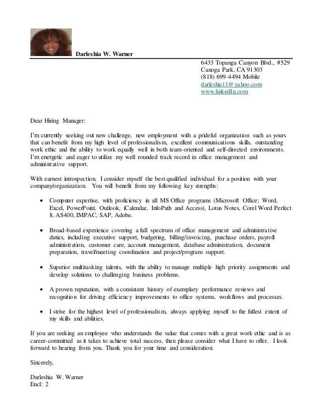 exemplary cover letter