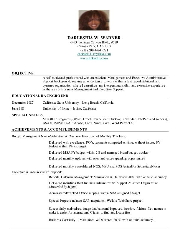 Darleshia W Warner Cover Letter Resume - Executive Support Cover Letter