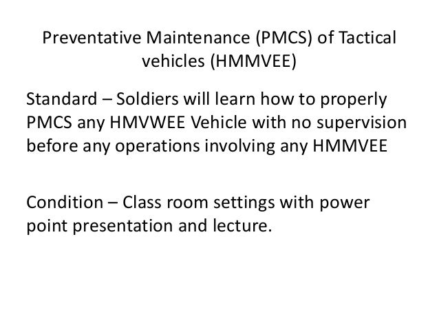 preventative maintenance pmcs of hmmwv rh slideshare net DA Form 5988 Pmcs M998 HMMWV