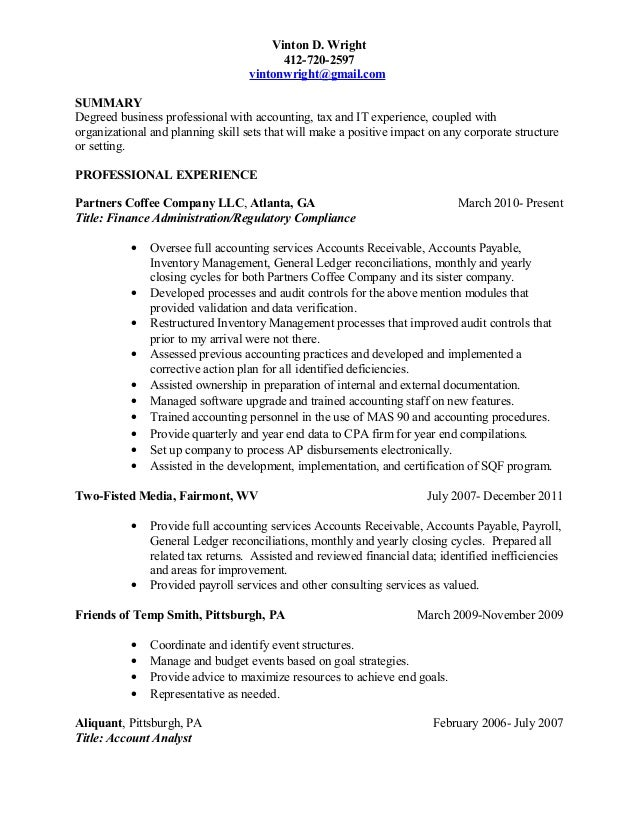 Vinton D Wright Resume