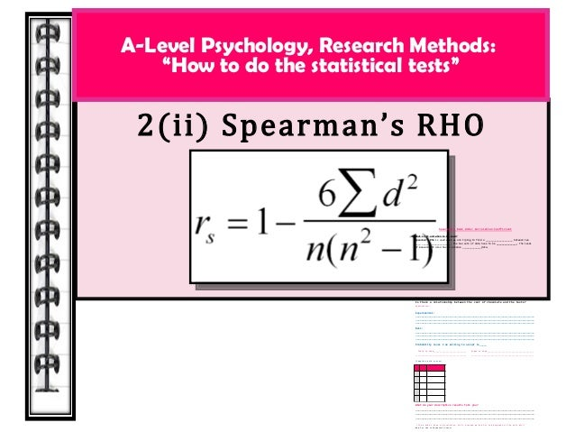"""2(ii) Spearman's RHO A-Level Psychology, Research Methods: """"How to do the statistical tests"""" Spearman's Rank Order Correla..."""