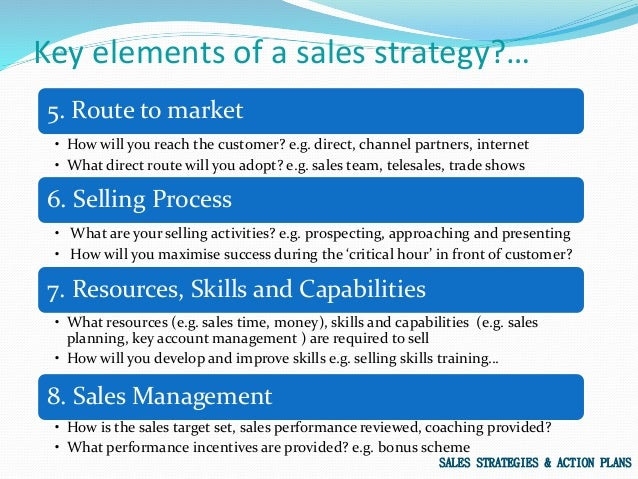 sales plans and strategies