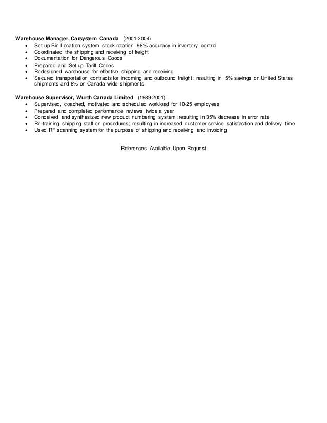 resume for manager