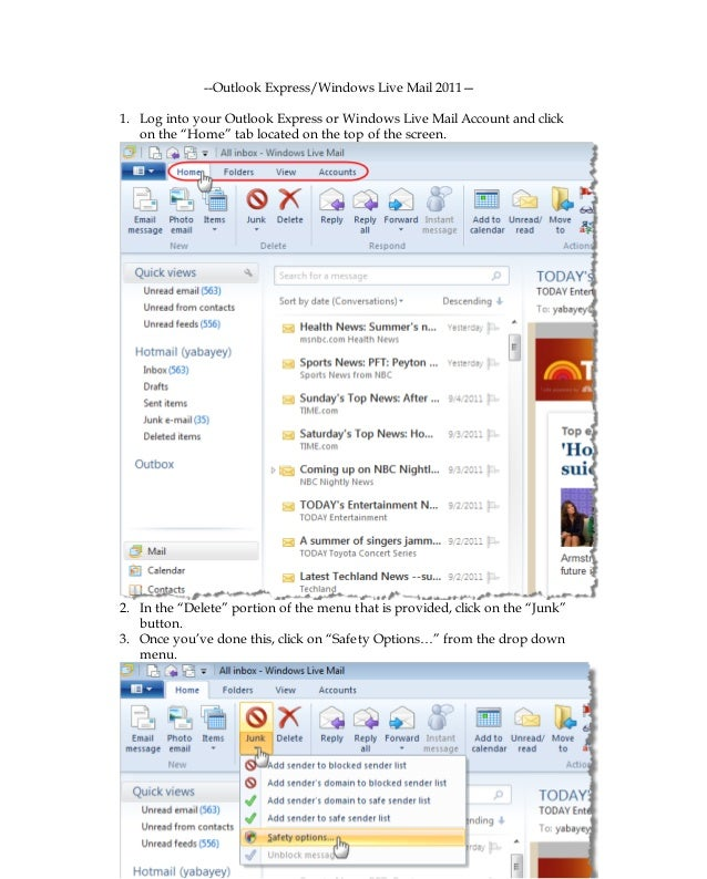 Outlook Express- Windows Live Mail 2011 whitelisting procedures + sna…