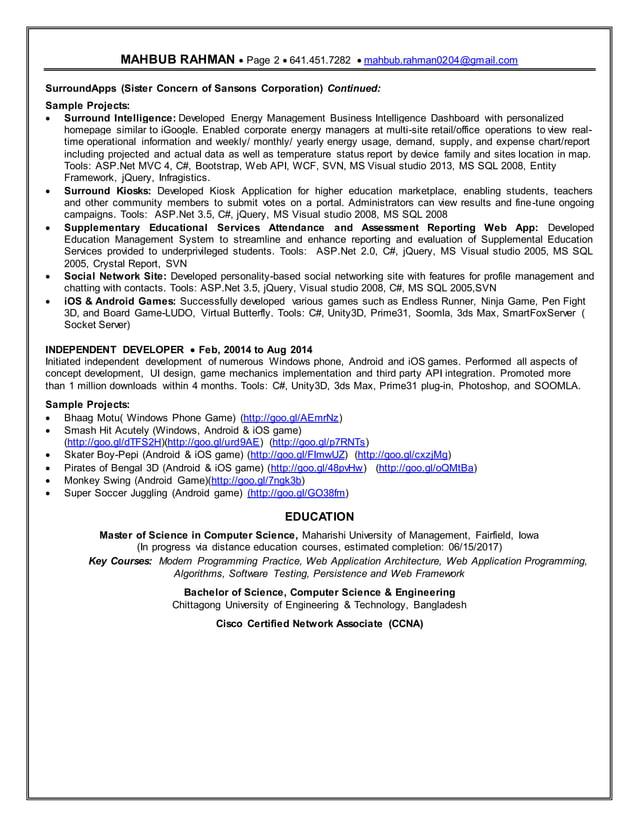 Resume MAHBUB RAHMAN  Page 2 641.451.7282 mahbub.rahman0204@gmail.com SurroundApps (Sister Concern of Sansons Corpora...