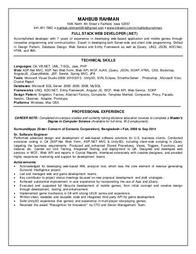 Resume MAHBUB RAHMAN 1000 North 4th Street  Fairfield, Iowa 52557 641.451.7282 mahbub.rahman0204@gmail.comwww.linked...
