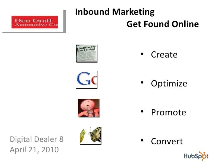 Inbound Marketing    Get Found Online Don Graff Principal, Don Graff Consulting [email_address] <ul><li>Digital Dealer 8  ...