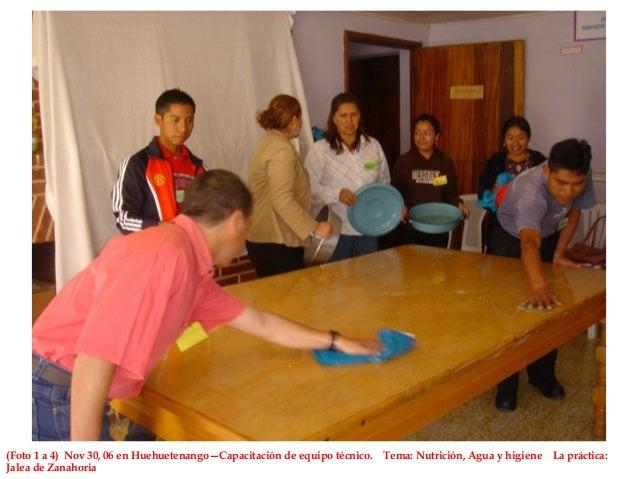 (Foto 1 a 4) Nov 30, 06 en Huehuetenango—Capacitación de equipo técnico. Tema: Nutrición, Agua y higiene La práctica: Jale...