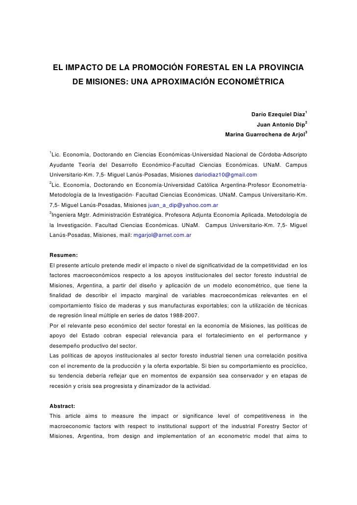 EL IMPACTO DE LA PROMOCIÓN FORESTAL EN LA PROVINCIA         DE MISIONES: UNA APROXIMACIÓN ECONOMÉTRICA                    ...
