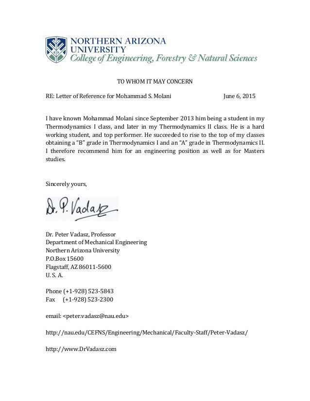 Charmant Peter Vadasz, Professor Recommendation Letter. TO WHOM IT MAY CONCERN RE:  Letter Of ...