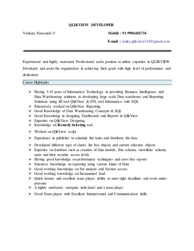 qv developer updated resume