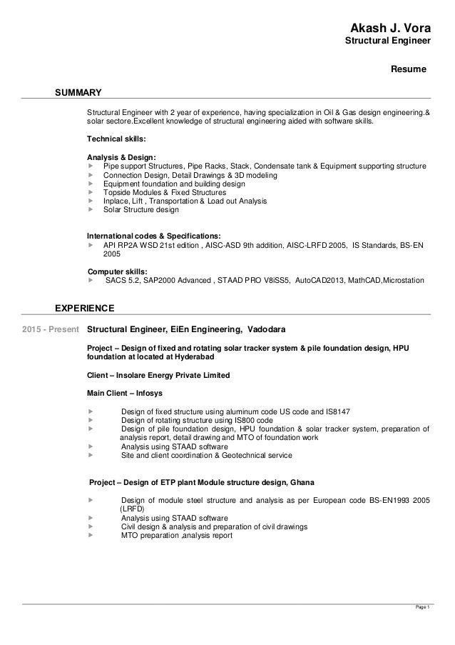 Structural Engineer Resume   Resume Structure