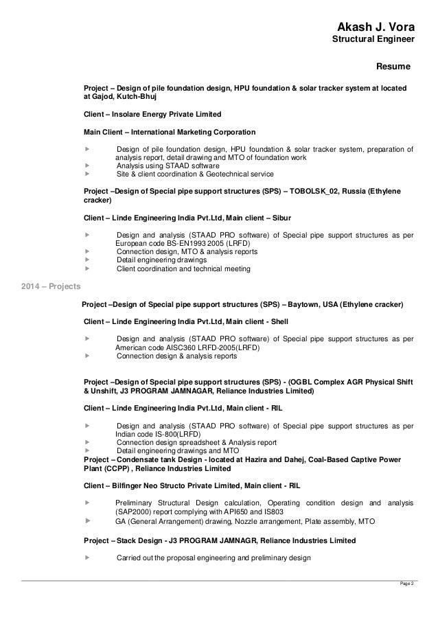 ... 2. Akash J. Vora Structural Engineer Resume ...