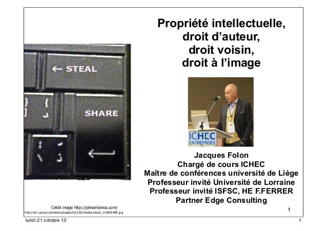 Propriété intellectuelle, droit d'auteur, droit voisin, droit à l'image  Jacques Folon Chargé de cours ICHEC Maître de con...