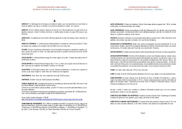 CURIOSIDADES INCRÍVEIS SOBREANIMAIS CURIOSIDADES INCRÍVEIS SOBREANIMAIS DD ASA SP 11-97015-1919-BillAndersen–2000/2013 DD ...