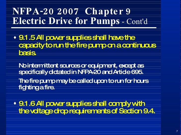 Fire Pumps, Controllers & ociated Electrical Distribution Aspects on